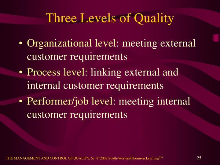 Three Levels of Quality