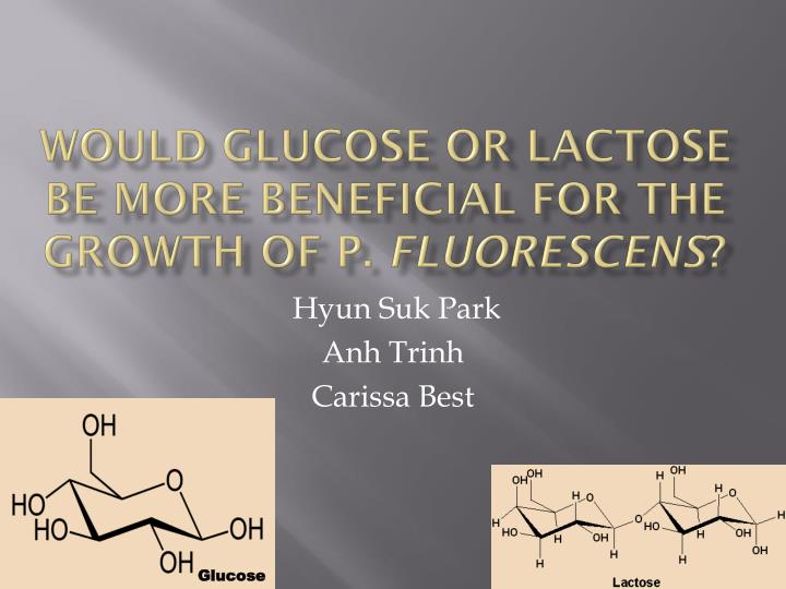 Would glucose or lactose be more beneficial for the growth of p fluorescens