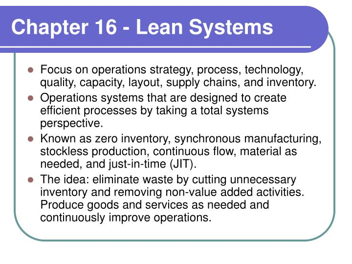 chapter 16 lean systems n.