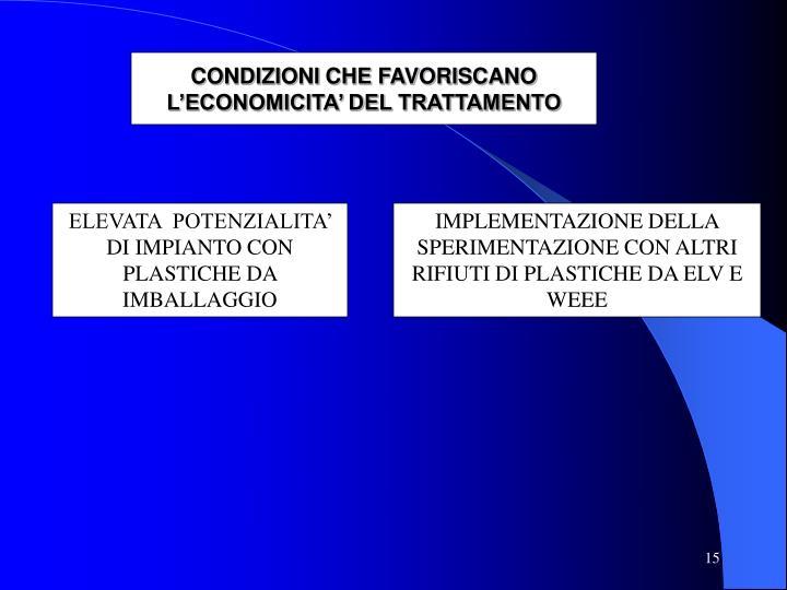 CONDIZIONI CHE FAVORISCANO L'ECONOMICITA' DEL TRATTAMENTO