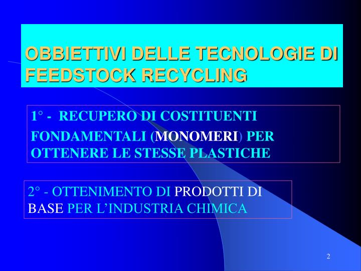 Obbiettivi delle tecnologie di feedstock recycling