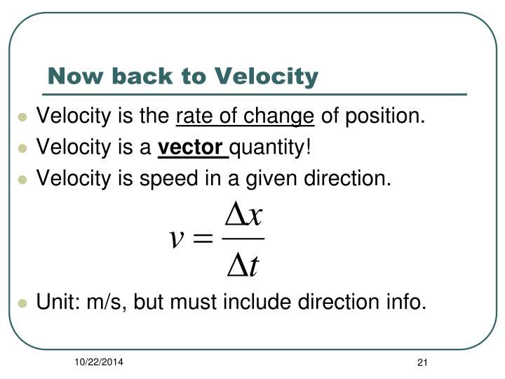Now back to Velocity