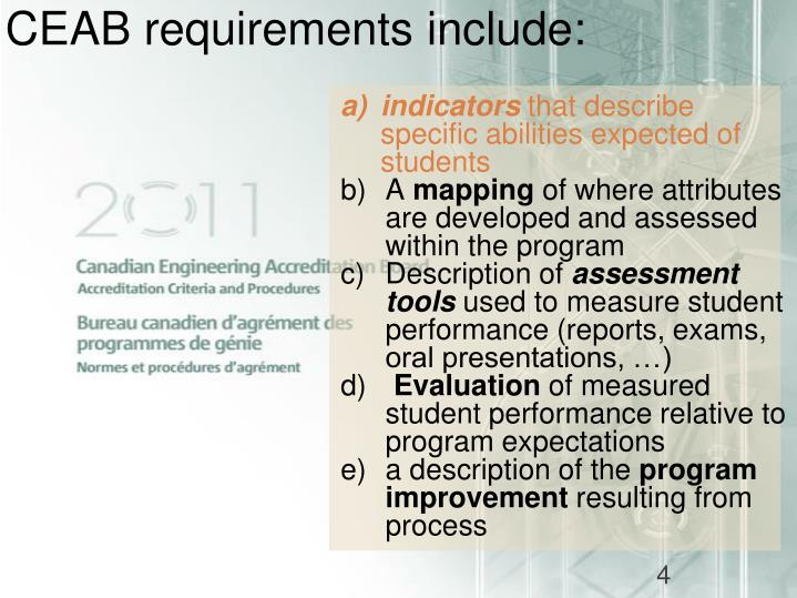 CEAB requirements include: