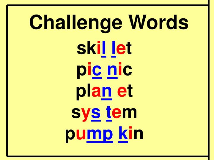Challenge Words