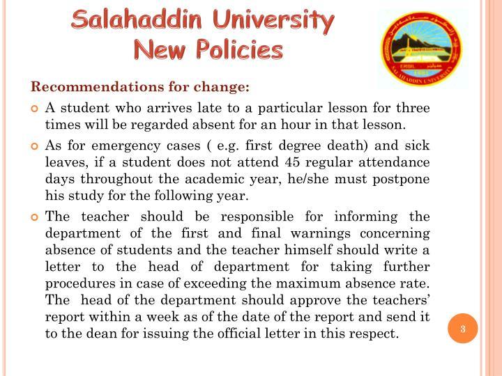 Salahaddin university new policies2