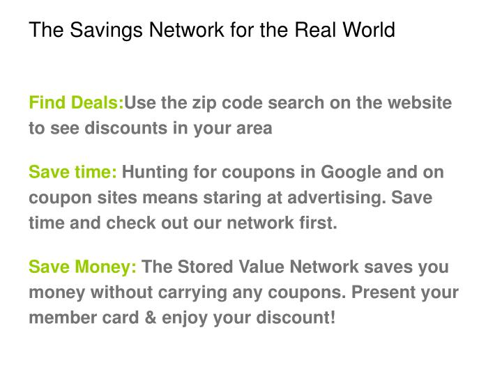 the savings network for the real world n.