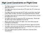 high level constraints on flight crew