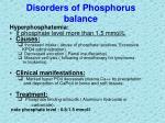 disorders of phosphorus balance