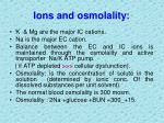ions and osmolality