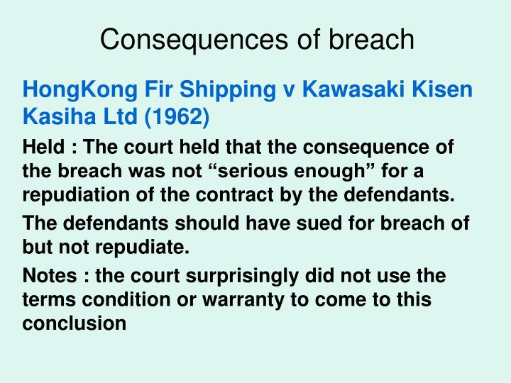 consequences of breach of warranty