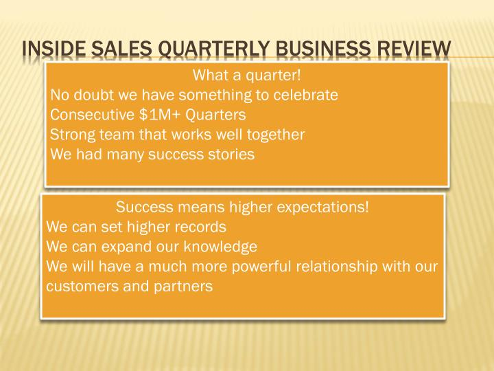 Sales review presentation