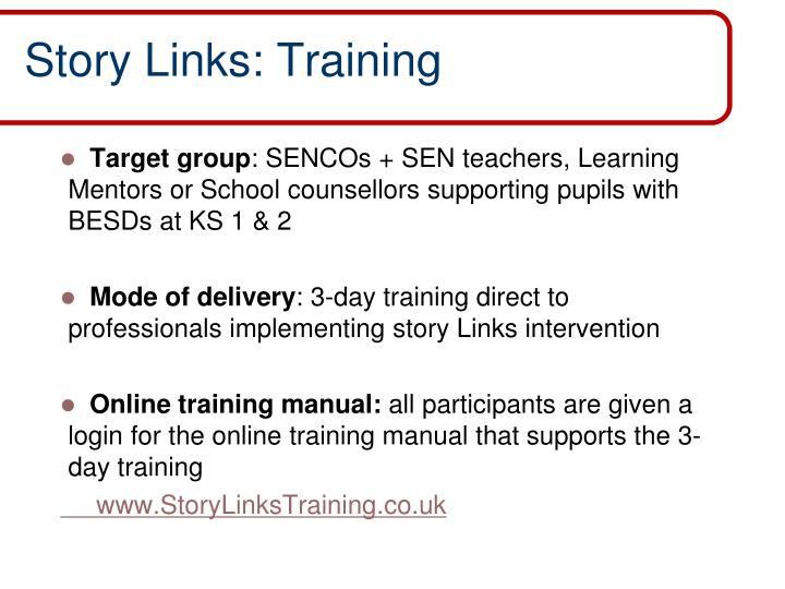 Story Links: Training