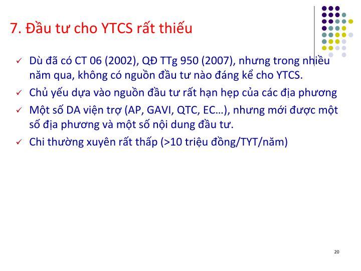 7. Đầu tư cho YTCS rất thiếu