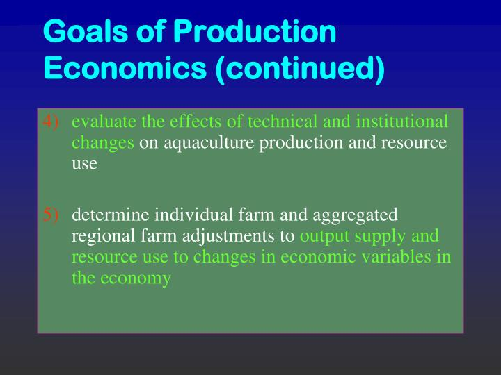 economics of production and output