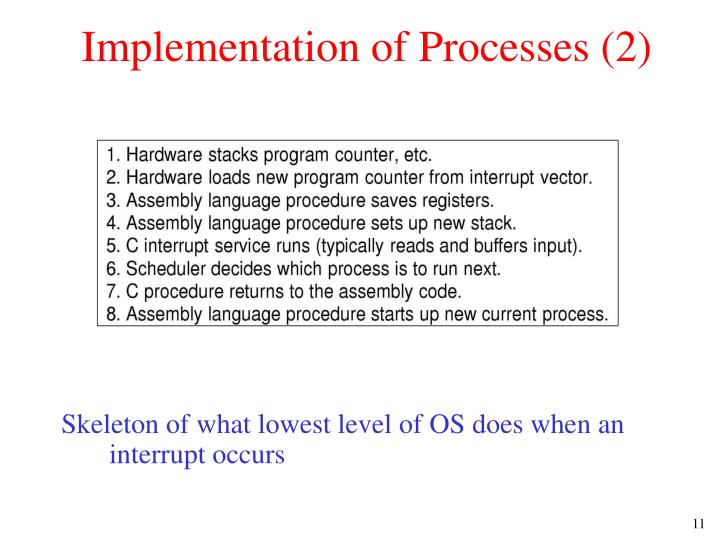Implementation of Processes (2)