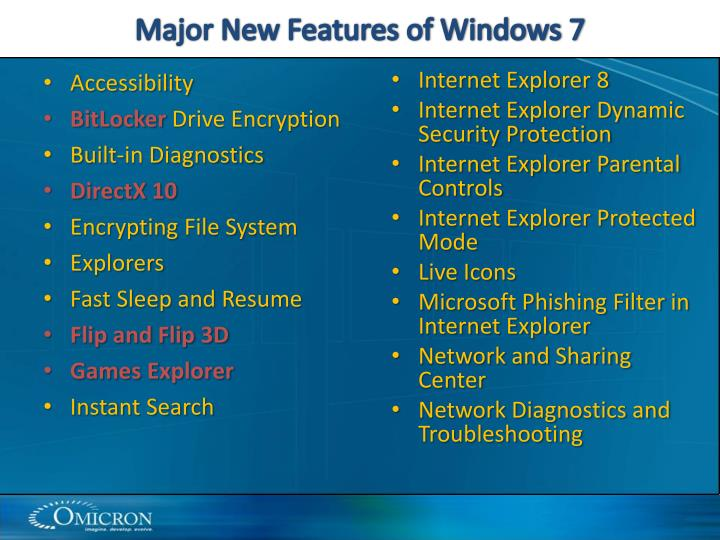 Major New Features of Windows 7