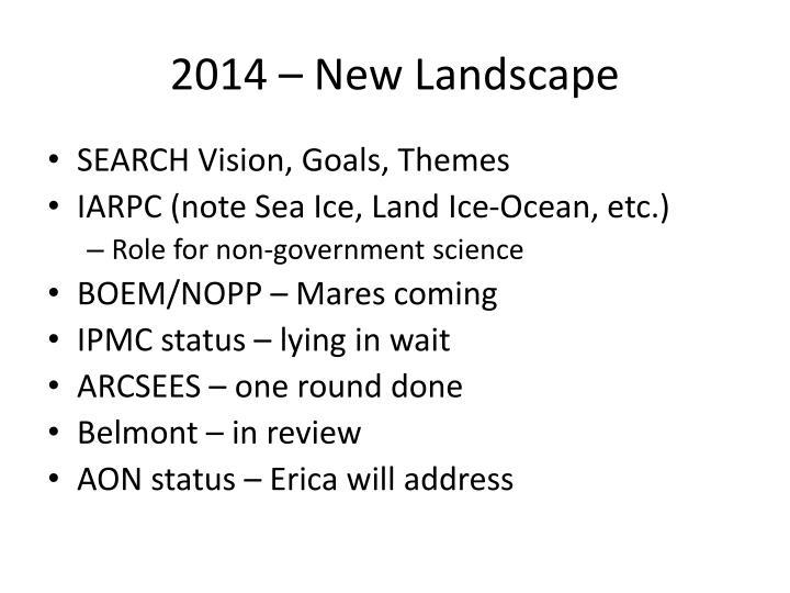 2014 – New Landscape
