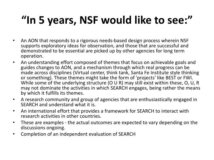 In 5 years nsf would like to see