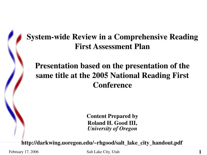 content prepared by roland h good iii university of oregon n.
