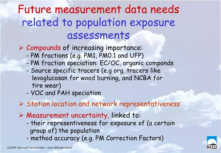 Future measurement data needs related to population exposure assessments