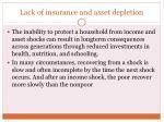 lack of insurance and asset depletion