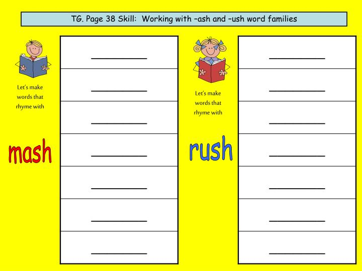 TG. Page 38 Skill:  Working with –ash and –ush word families