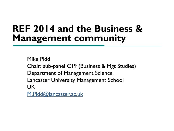 ref 2014 and the business management community n.