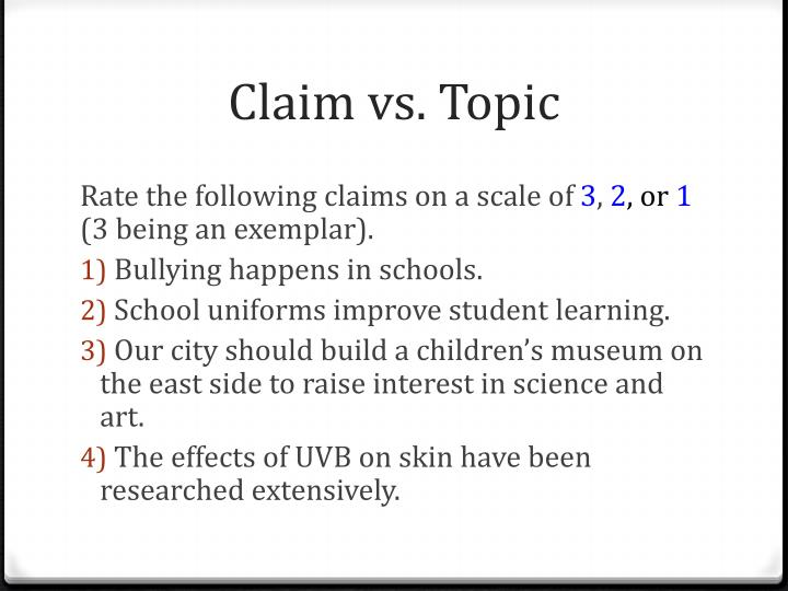 Claim vs. Topic
