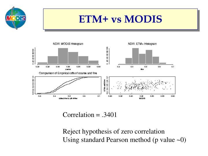 ETM+ vs MODIS