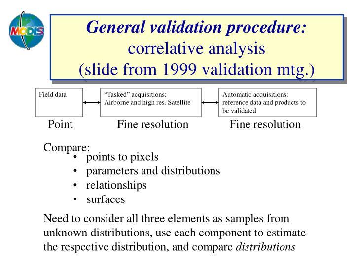 General validation procedure correlative analysis slide from 1999 validation mtg