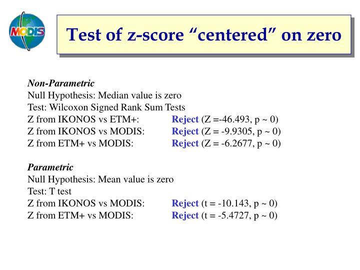 "Test of z-score ""centered"" on zero"