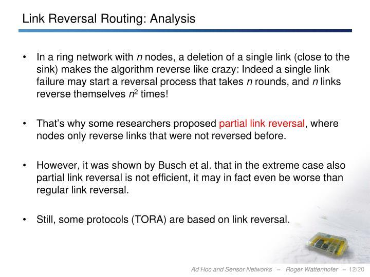 Link Reversal Routing: Analysis