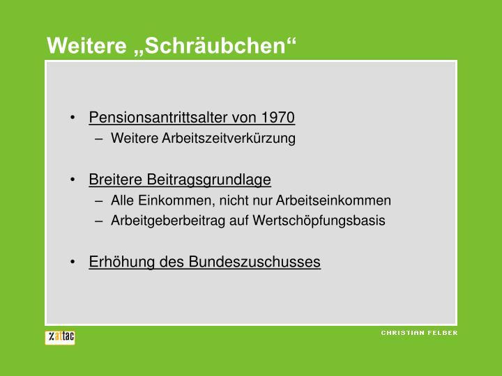 """Weitere """"Schräubchen"""""""