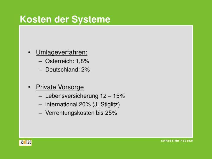 Kosten der Systeme