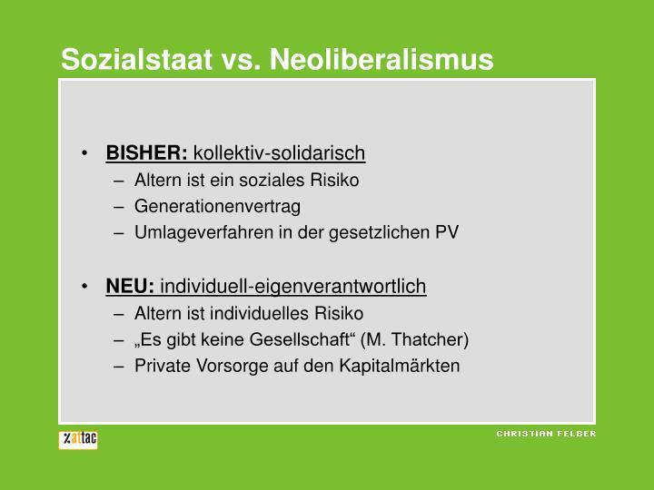 Sozialstaat vs. Neoliberalismus