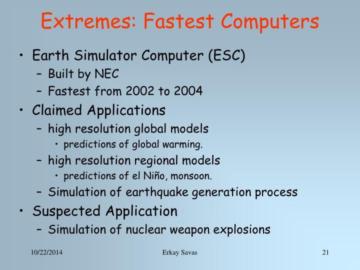 Extremes: Fastest Computer