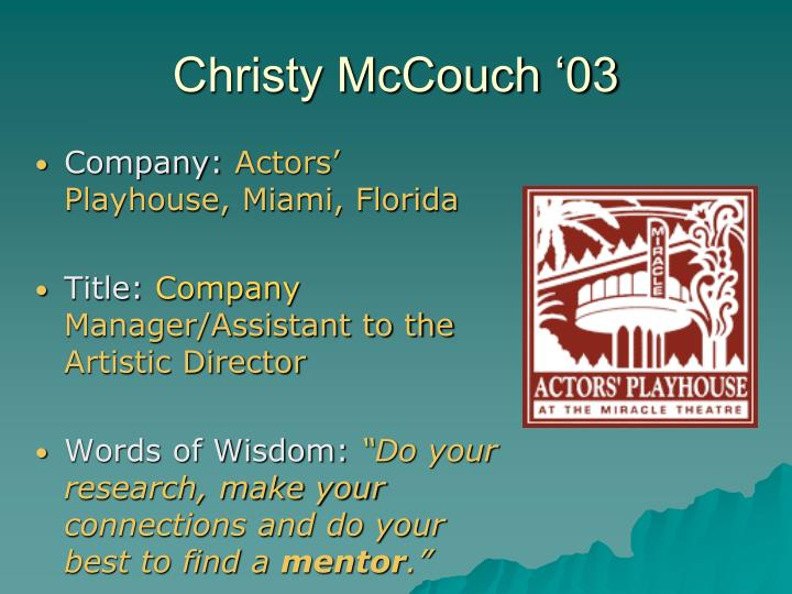 Christy McCouch '03