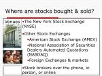 where are stocks bought sold