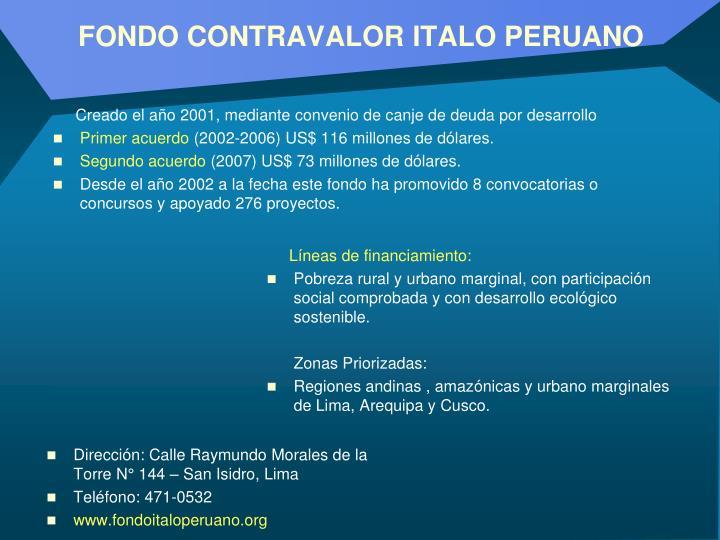 FONDO CONTRAVALOR ITALO PERUANO