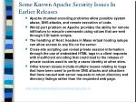 some known apache security issues in earlier releases