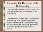 indicating the direction of the relationship