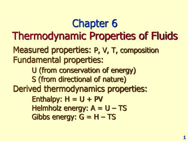 chapter 6 thermodynamic properties of fluids n.