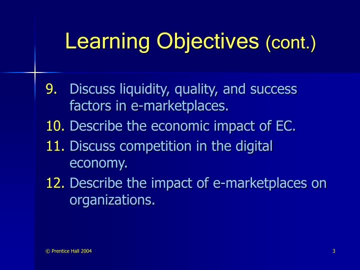 Learning objectives cont