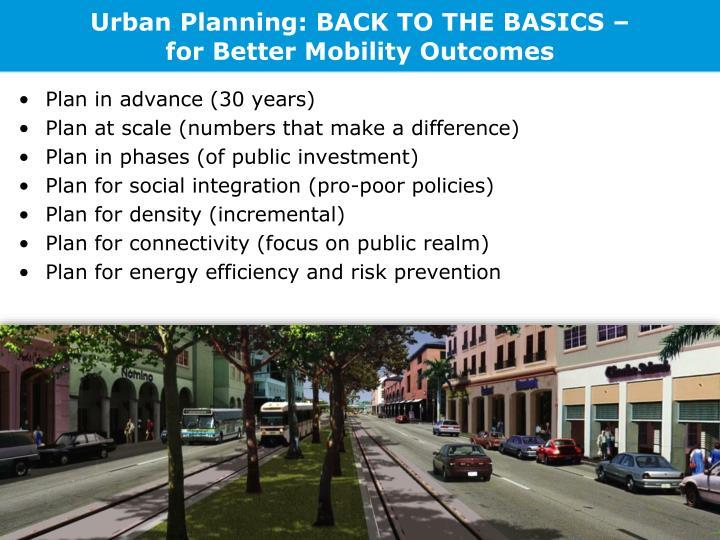 Urban Planning: BACK TO THE BASICS –