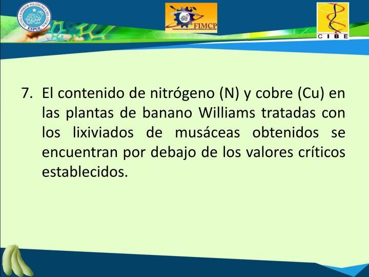 7.  El contenido de nitrógeno (N) y cobre (Cu) en las plantas de banano Williams tratadas con los lixiviados de musáceas obtenidos se encuentran por debajo de los valores críticos establecidos.