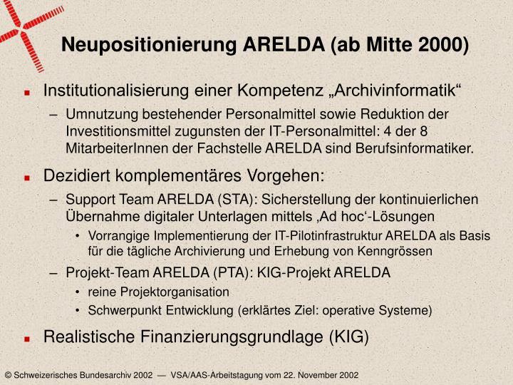 Neupositionierung ARELDA (ab Mitte 2000)