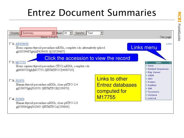 Entrez Document Summaries