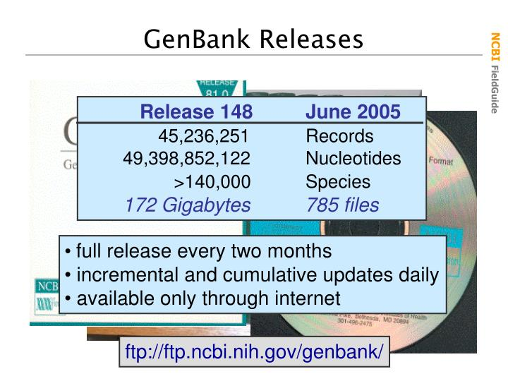 GenBank Releases