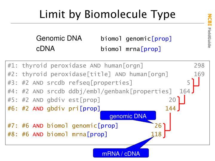 Limit by Biomolecule Type