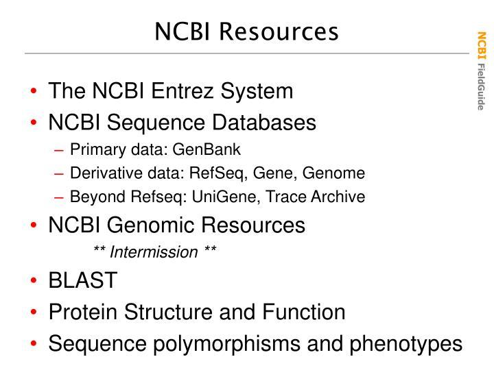 Ncbi resources